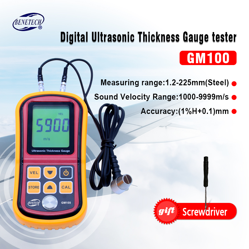 Digital Ultrasonic Thickness Gauge tester  GM100 Digital LCD display 1.2 to 200MM Sound Velocity Meter with aluminium retail box exploit high precision 0 01mm profession digital lcd display thickness gauge meter paper leather fabric thickness tester