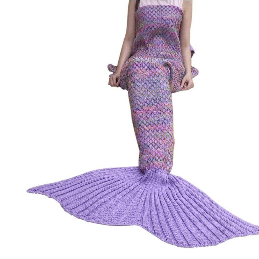 CAMMITEVER Crochet Knitted Mermaid Tail Blanket Super Soft All Season Sleeping Bag For Girls Adults Teens Women Baby Girl Gift-in Blankets from Home & Garden