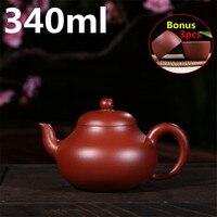 Purple Clay Handmade Tea Pot Chinese Porcelain Big Capacity 340ml Teapot Yixing Zisha Ceramic Tea Set Teapots Bonus 3 Cups
