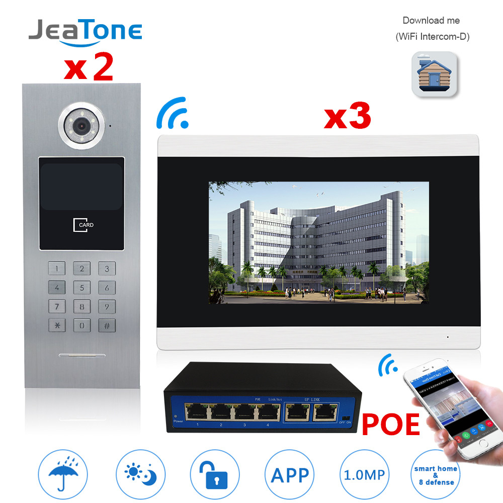 7'' Touch Screen WIFI Video Door Phone IP Video Intercom For Building Access Control System Support Password/IC Card 2 To 3