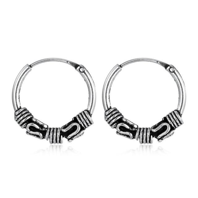 European Vintage Silver Color Hoop Earrings Circle Handmade Punk Small Hoop Earr