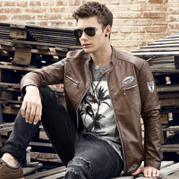 LISER Mens Leather Jackets Classic Motorcycle PU Outerwear Plus S Ize Coats Men Fur Coat