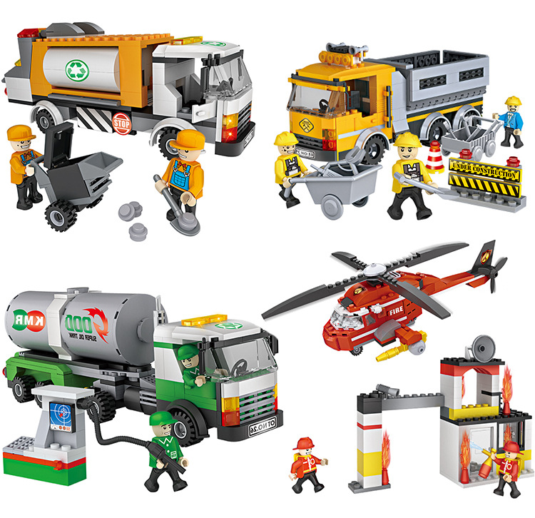 Cogo City Series Building Blocks Sanitation garbage trucks tanker fire helicopter educational Diy Model Toys  Best Gifts for Kid loz mini diamond block world famous architecture financial center swfc shangha china city nanoblock model brick educational toys