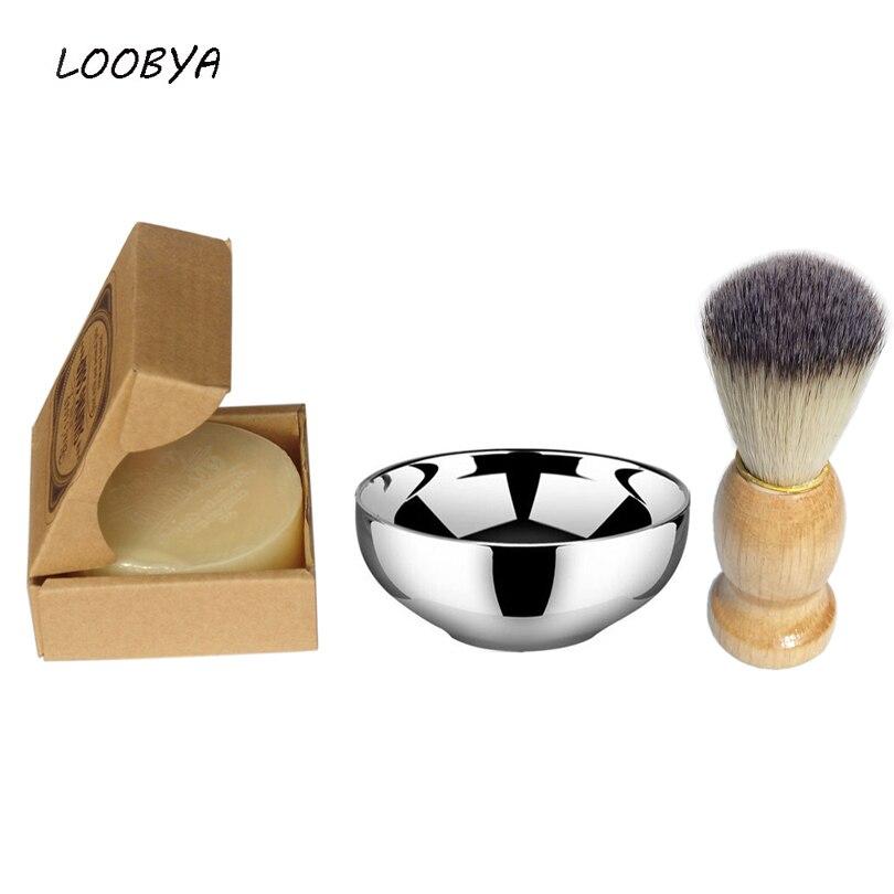 2pc / set Black Badger Shaving Cream Brush med keramisk skäggskål - Rakning och hårborttagning - Foto 1