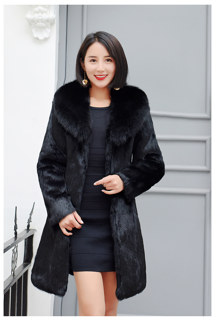 Real rabbit fur coat long coat female winter warm fox fur collar fur coat image