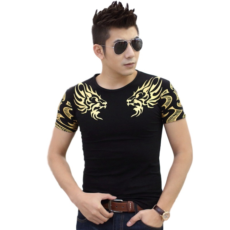 Double Dragon Print Fashion men's   t  -  shirts   Slim fit   t     shirt   Plus size short sleeve 4 Colors 5 Size TX141 P