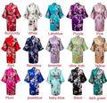 Hot sale 14 colors  Woman Peacock Printed Silk Kimono Robes ,Wedding Party Bridesmaid Robe Bridesmaid Bride Gown Kimono Robe