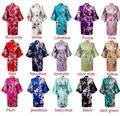 Súper ventas 14 colores mujer pavo real impreso seda del Kimono robes, boda de dama de honor de dama de honor bata la novia vestido del Kimono del traje