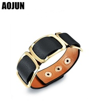 AOJUN Vintage Leopard Leather Horse Hair Wide Loose Bracelet Adjustable Snap Button Bracelet Bangle Woman Female