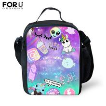 FORUDESIGNS Cute Alien Print Messenger Thermal Food Lunch Bag for Children Lunchbox Picnic Kids Insulated Shoulderbag