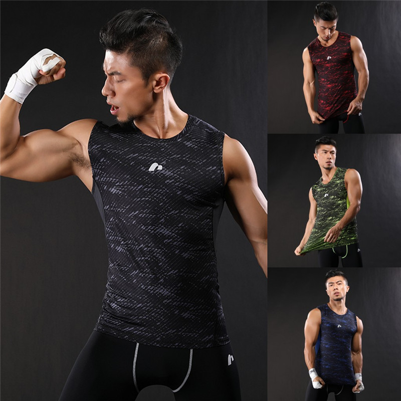 2017 New Compression Men Sports GYM Running Vest Sportswear Basketball half Pants Tights breathable Fitness Vests Shirts Shorts