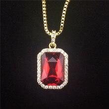 Ónice cristal Colgante Del Collar de la Plaza Roja, negro, azul, Verde, blanco Colgante de Piedra de 30 pulgadas Caja de Cadena Para Hombre de Joyería