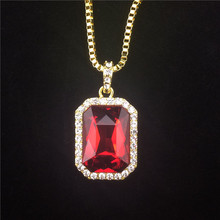 Faux Ruby Onyx Pendant Necklace Set Square Red, Black, Blue,Green, White Stone Pendant 30inch Box Chain Mens Jewelry
