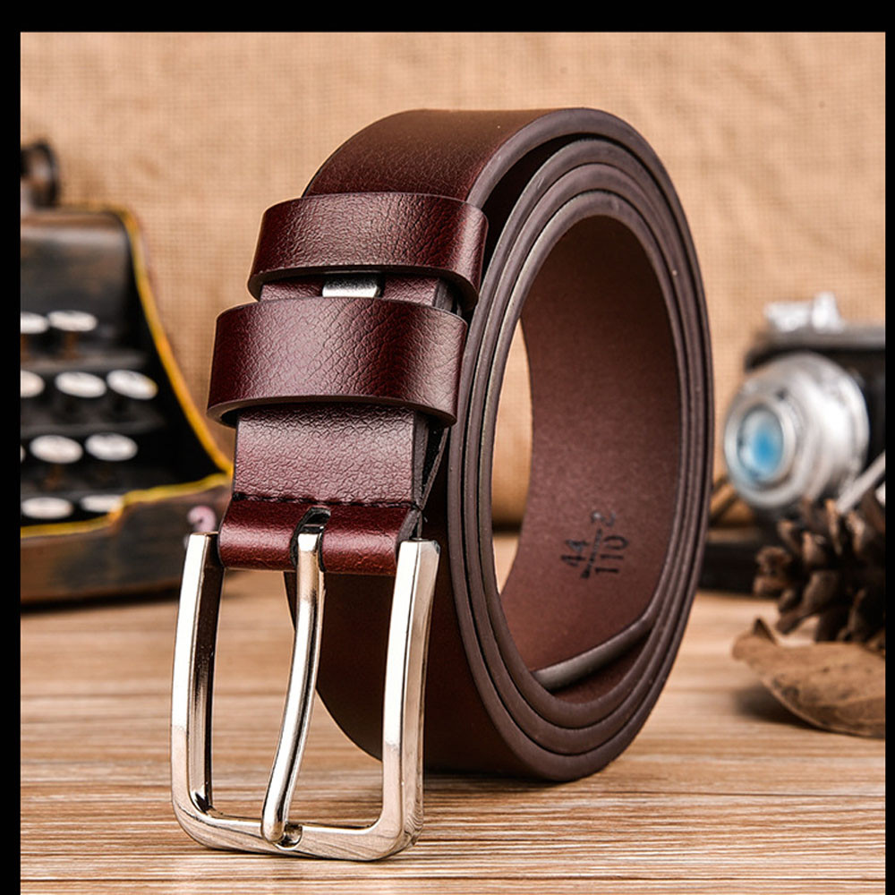 Men Genuine Leather   Belt   Brown Automatic Buckle   Belt   Modis Luxury Brand Waist Band Male Cintos High Quality ремень мужской