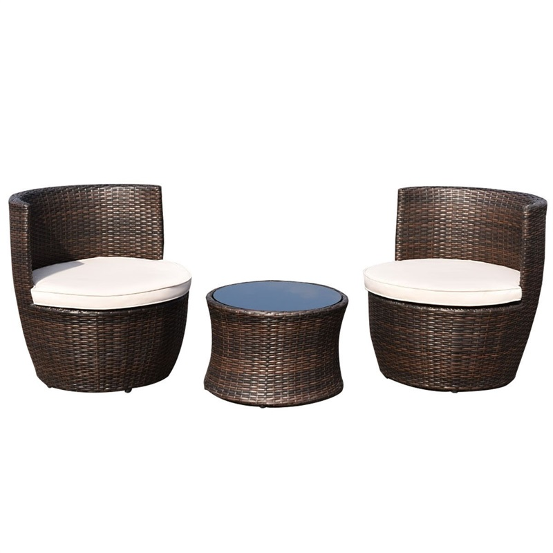 3 Pcs Patio Rattan Stackable Furniture Set High Quality Modern Stackable Outdoor Garden Furniture Set Tables And Chairs HW58806+