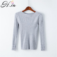 H SA Women Autumn 2017 Sweater And Pullovers Oneck Basic Women Jumpers Lace Sleeve Pull Femme
