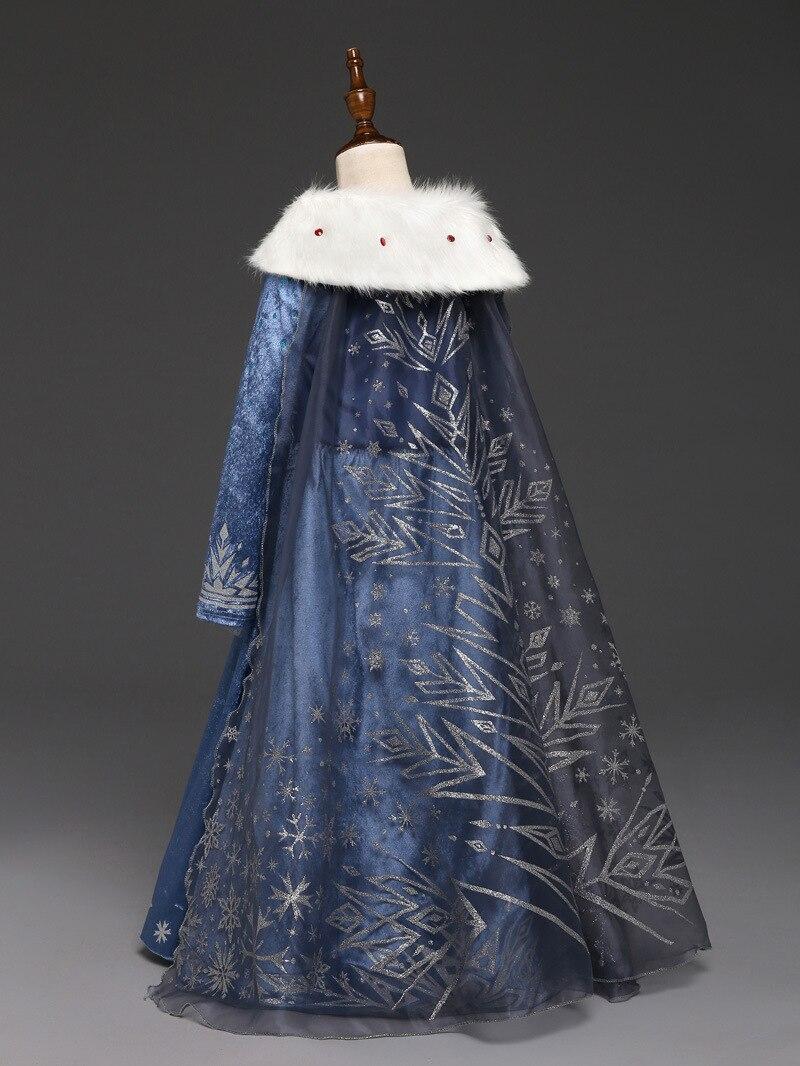 Платье Эльзы для девочек; Новинка; костюмы Снежной Королевы для детей; платья для костюмированной вечеринки; платье принцессы; disfraz carnaval vestido de festa infantil congelados
