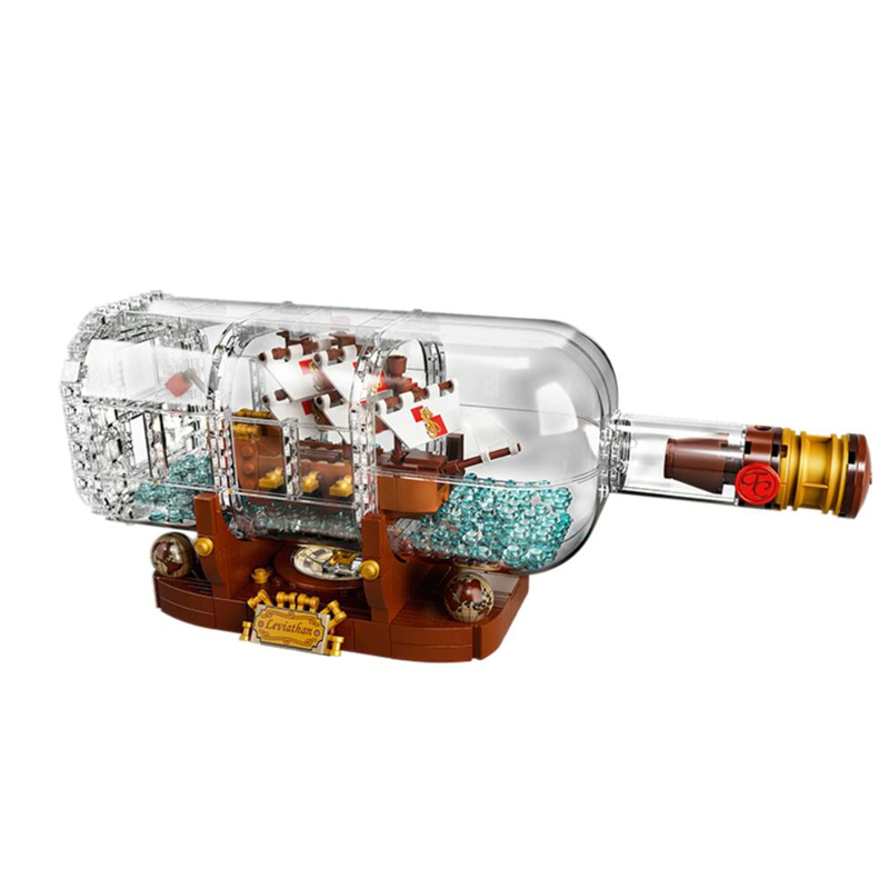 Ideas Creator Ship In A Bottle LEPIN Building Blocks Bricks Kids Classic City Model Toys For Children Gifts Compatible Legoe kaygoo building blocks aircraft airplane ship bus tank police city military carrier 8 in 1 model kids toys best kids xmas gifts