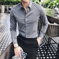 New Arrived 2018 Autumn Plaid Shirt Man Business Casual Shirts Men Slim Fit Long sleeve Work Shirts dress shirt