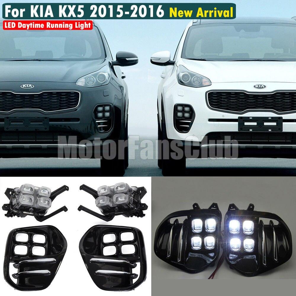 LED Daytime Running Light Driving Fog Lamp DRL Daylight For Kia Sportage IV KX5 2016 2017
