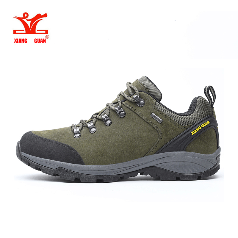 XiangGuan man waterproof hiking shoes Cattlehide Anti skid Wear resistant breathable fishing outdoor climbing Sneakers-in Hiking Shoes from Sports & Entertainment    1