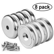 8PCS Round Magnet Neodymium Base Magnetic Hanging Hook Screw Strong Wall Mount Cup Magnets