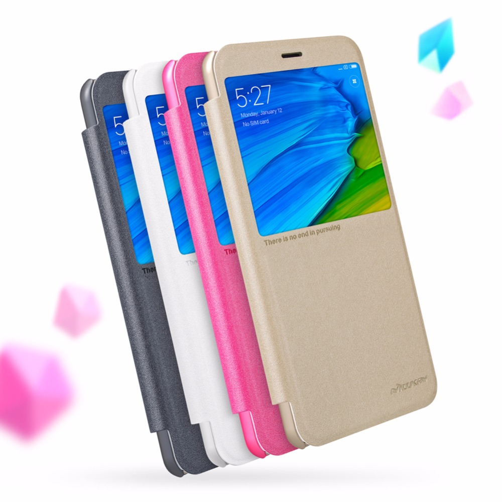 NILLKIN Sparkle Series Frosted Flip Case For redmi note 5 pro Big Window Case For redmi note 5 pro can use Smart Cover Mode