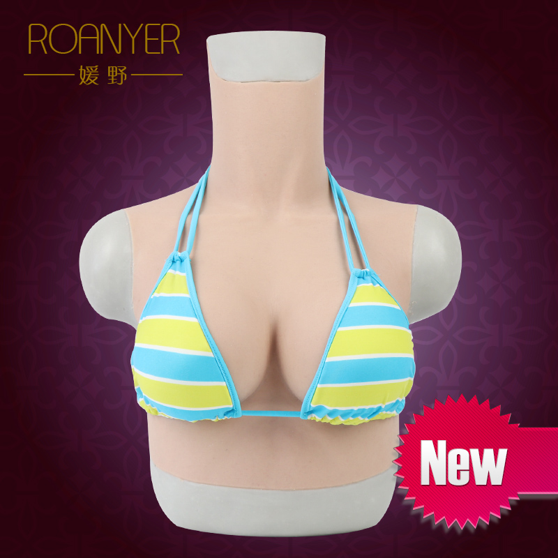 Roanyer crossdresser realistic artificial silicone big fake Boobs c Cup transgender drag queen latex breast forms