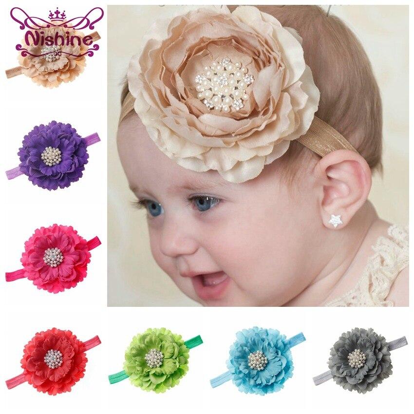 Nishine 18 Colors Kids Peony Flower With Pearl Rhinestone Button Headband Shiny Party Birthday Gift Hair Accessories Photo Shoot