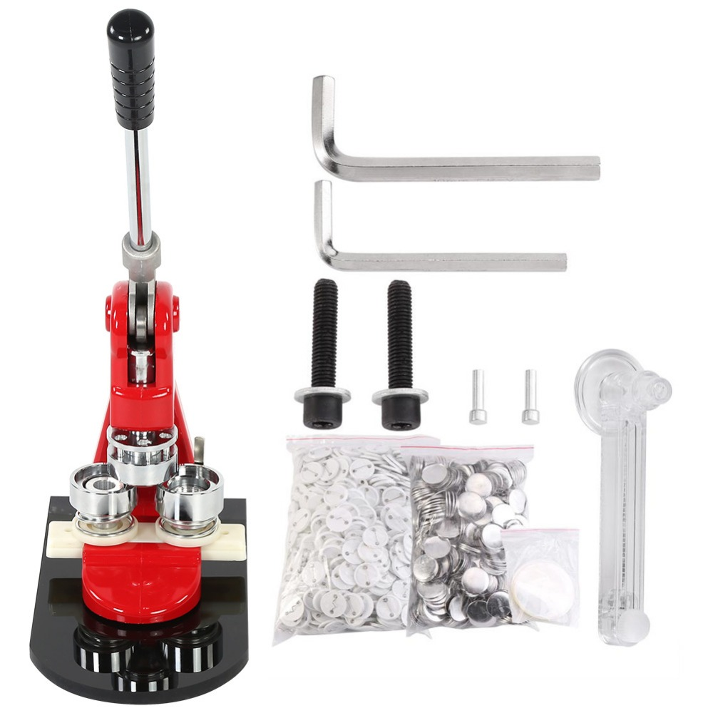 Accurate 32mm Button Maker Badge Punch Press Machine And 1000 Parts Cutter New