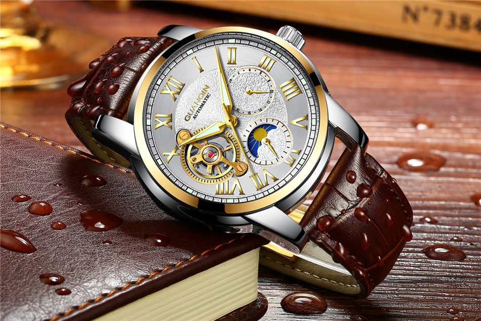 GUANQIN Top Brand Watches Mens Water Resistant Luminous Automatic Watch Skeleton Tourbillon Mechanical Wristwatches Black Clock (10)