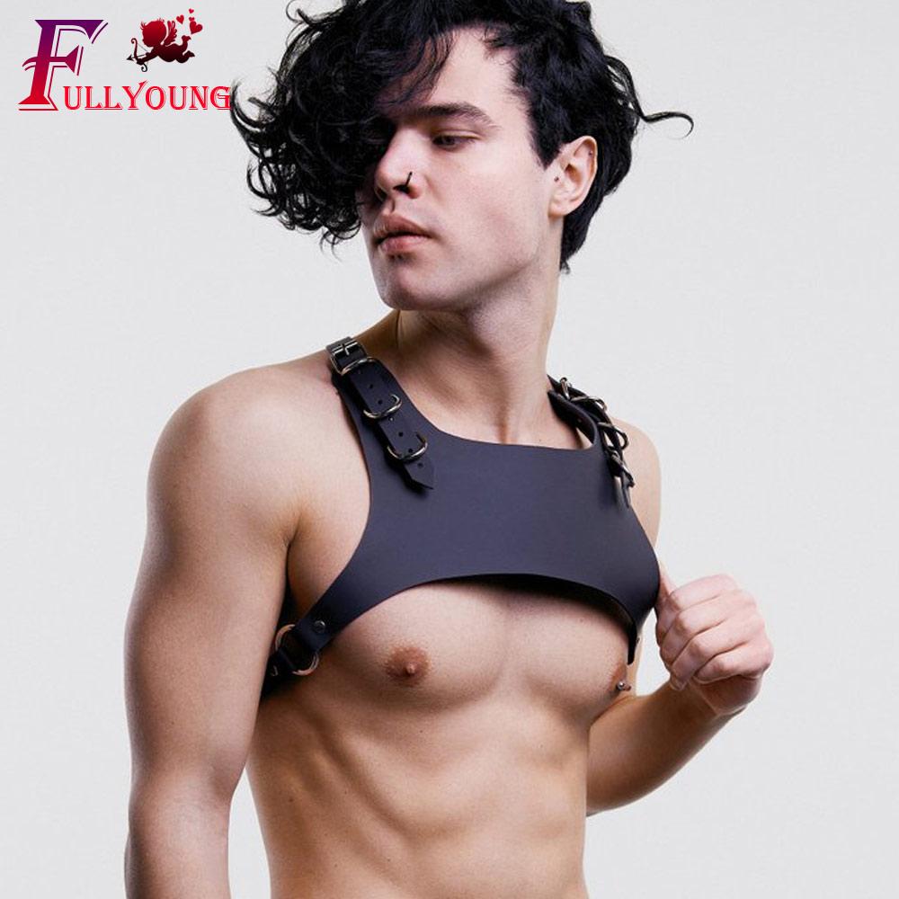 Fullyoung Men Leather Harness PU Leather Men Punk Body Strap Adjustable Punk Goth Body Chest Harness Shoulder Belts Body Bondage