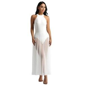 Image 4 - נשים מבוגרים בלט ריקוד שמלת עכשווי מודרני בגד גוף בלט בגד גוף בציר ארוך שמלת בלט בלרינה שלב ריקוד ללבוש