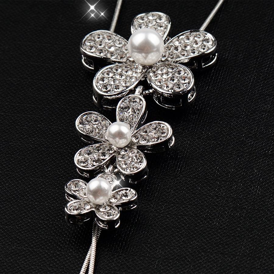 RAVIMOUR Lange Halsketten & Anhänger Silber Farbe Kette Nachgeahmt - Modeschmuck - Foto 4