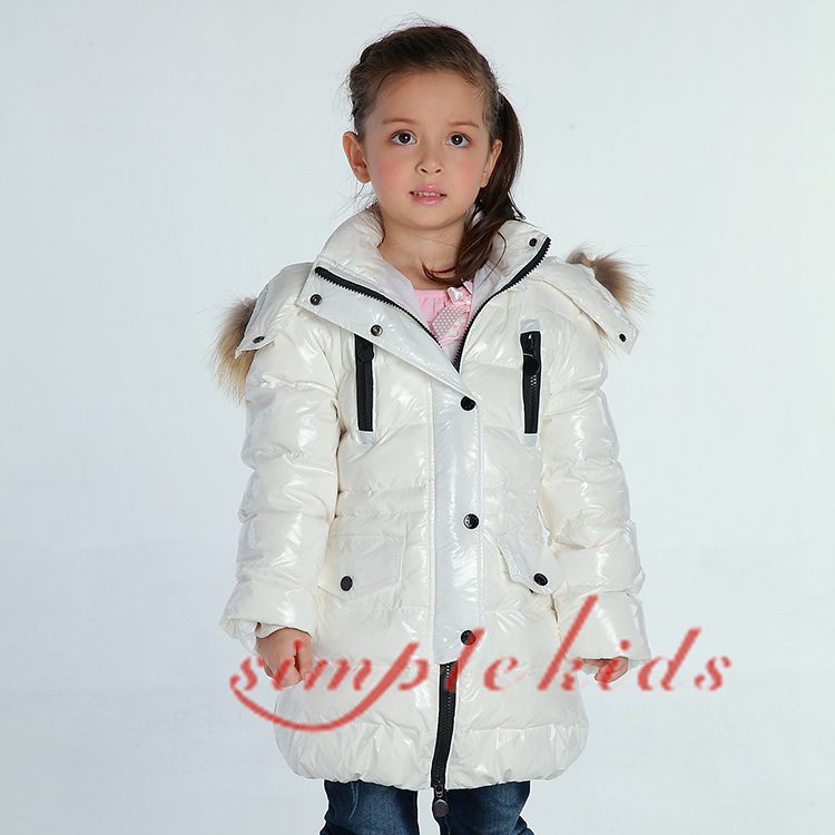 Winter Girl's Down Jacket Baby Down snow wear Boy Down Coat Thick Large Natural Fur Collar Medium-long Down Jacket BLACK WHITE stylish turn down collar long sleeve zip pockets women s black jacket