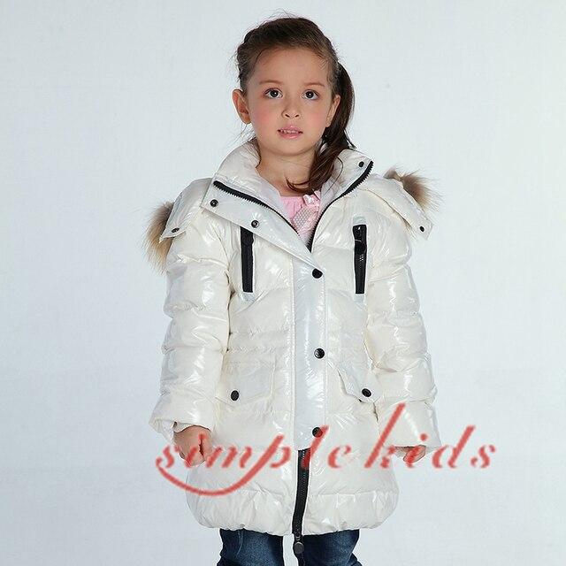 Winter Girl's Down Jacket Baby Down snow wear Boy Down Coat Thick Large Natural Fur Collar Medium-long Down Jacket BLACK WHITE