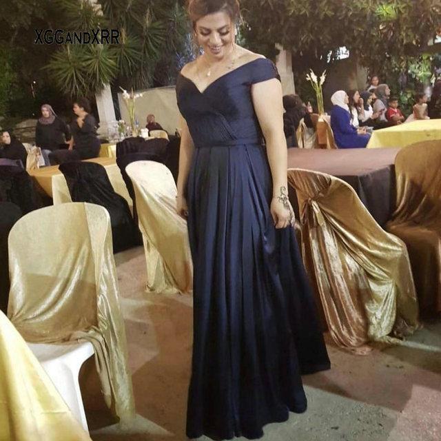 Elegant A Line Mother Of Bride Dress 2018 V Neck Off the Shoulder Pleats Long Evening Dress Plus Size Custom Made Formal Gown