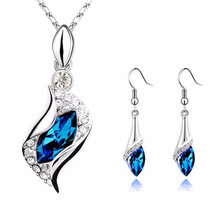 2019 Sapphire Blue Long Teardrop Austria Crystal Fashion 2 Earrings +1 Pendant Necklace Dropshipping YH-460798