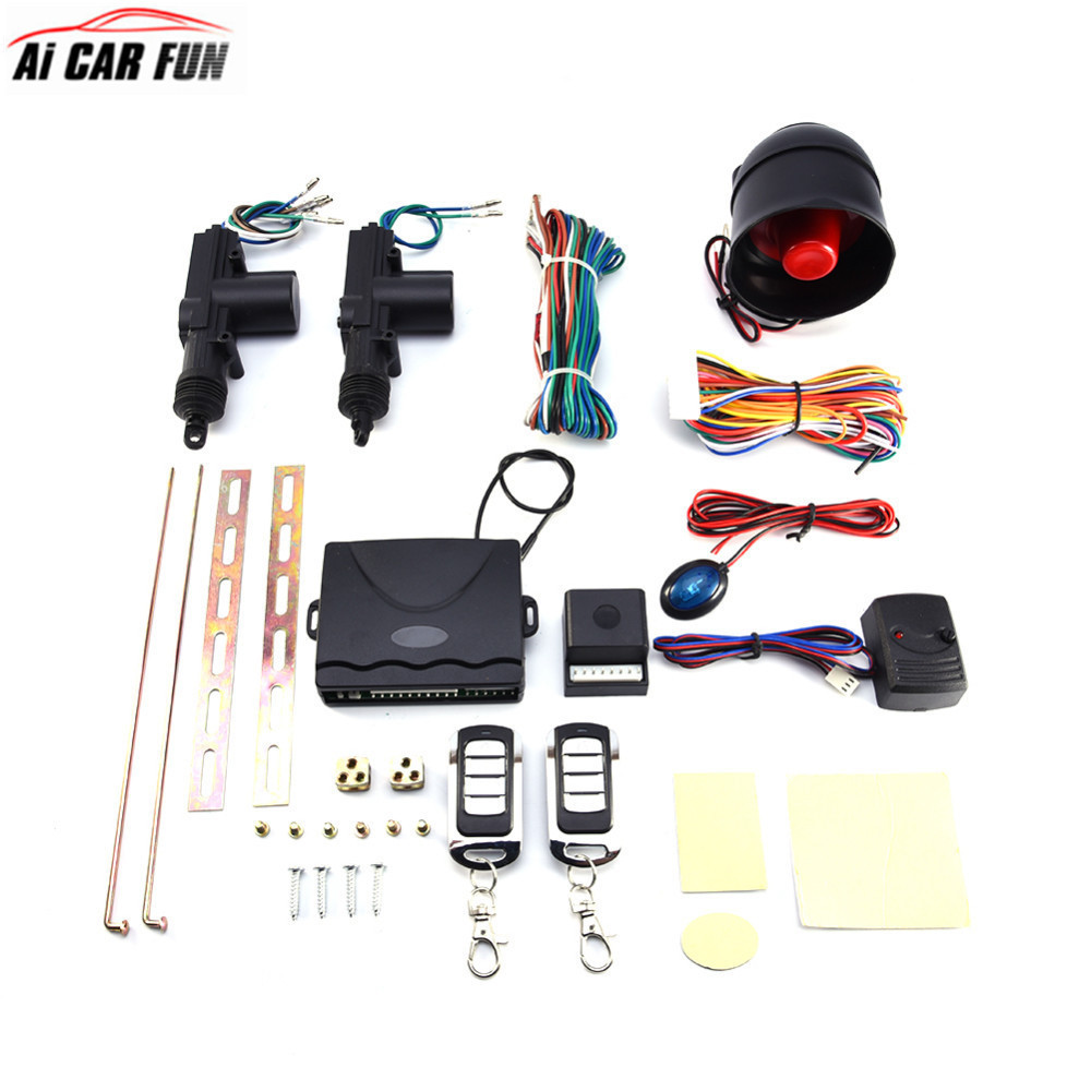 2 système d'alarme de porte de voiture Protection sécurité Kit de verrouillage centralisé à distance capteur de choc ensemble d'outils d'alarme antivol