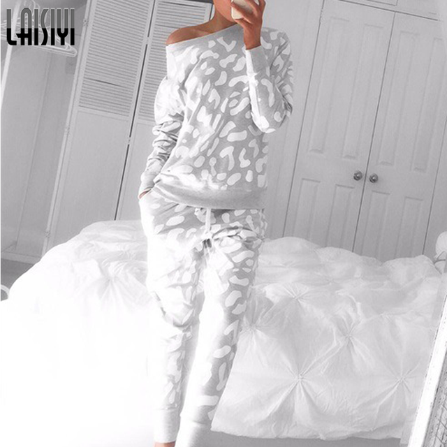 Laisiyi 2-Piece Clothing Autumn Winter Women Sets Tracksuit Trousers Long-Sleeved Printed Tops Casual Lady Suits ASSU20000