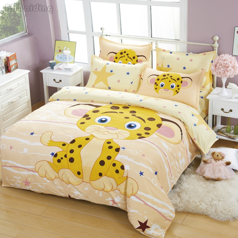 Cute Yellow Small Lion Bedding Set for Children Bedding Cartoon Animals Printing Bed Linen Kids Bedclothes Twin Full Queen Size