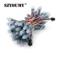Oferta SZYOUMY impermeable DC5V Digital completa Color LED Luz de píxel 12MM WS2811 2811 IC RGB Led