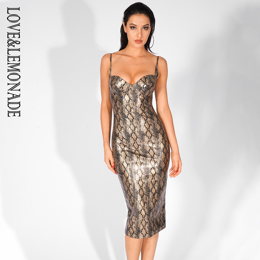 Love Lemonade Sexy Strapless Gold Snake Elastic PU Material Spaghetti Strap Dress LM81468 1GOLD