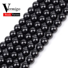 цена Smooth Black Agates Natural Stone Beads For Jewelry Making Round Onyx Loose Beads 4 6 8 10 12mm Diy Bracelet Necklace 15inches онлайн в 2017 году