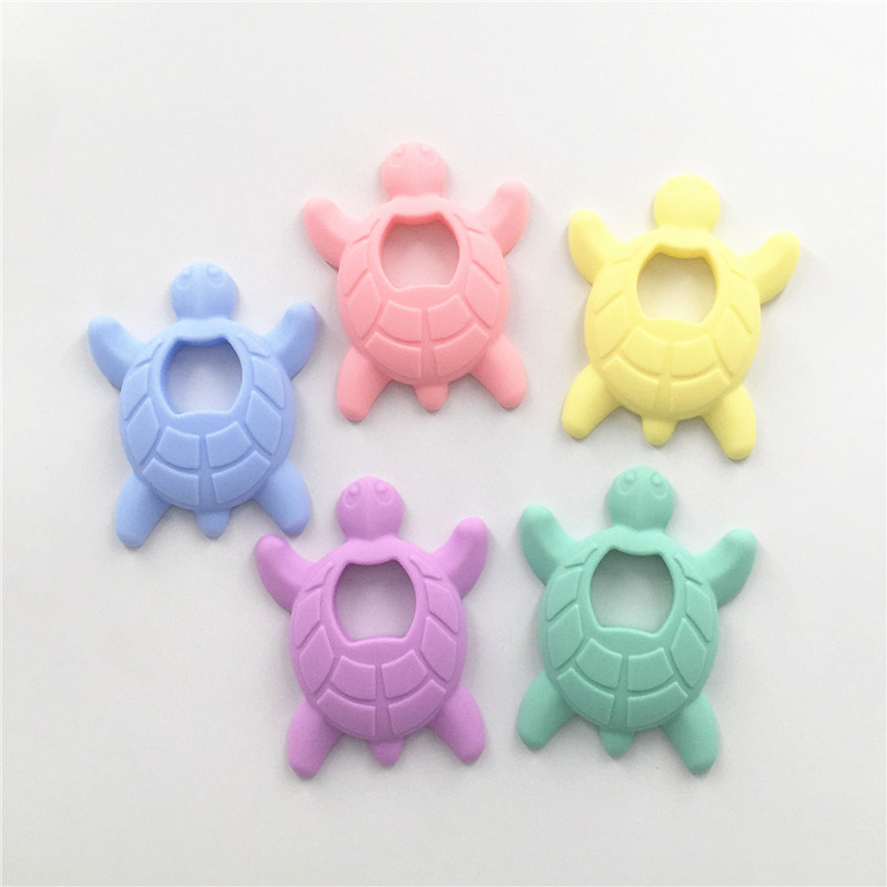 Chenkai 10pcs Silicone Turtle Teether DIY Colorful Lovely Baby Charms Pacifier Dummy Chewing Sensory Cartoon Animal Teething Toy in Baby Teethers from Mother Kids
