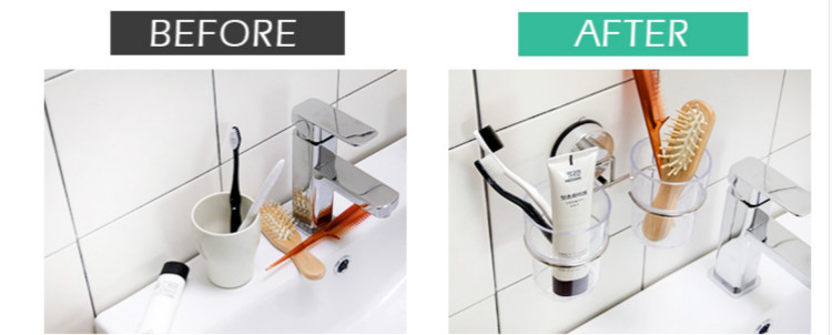 Suction Cup Tooth Brush Holder ToothBrush Toothpaste Holder Stand For Bathroom Accessories Set with Two Cups Stainless Steel in Toothbrush Toothpaste Holders from Home Garden