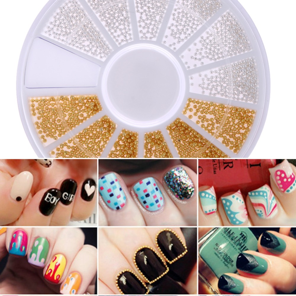 Hot New 2014 Model Nail Art 3d Design Metal Studs Silver Gold Mix