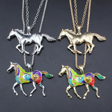 2017 New Fashion Women Jewelry Silver/Gold Tone Jewelry Running Horse Pendant 27″ Necklace Wholesale Free Shipping EA62