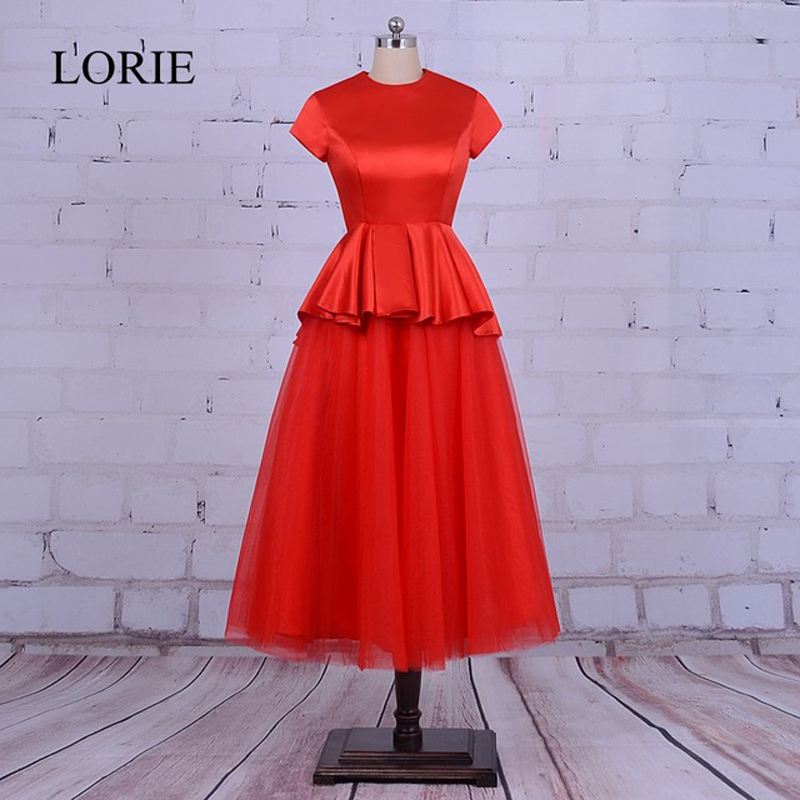LORIE Red   Prom     Dress   O-Neck Robe De Soiree 2018 Gothic Women Tea Length Evening   Dresses   With Cap Short Sleeves Formal Party Gown