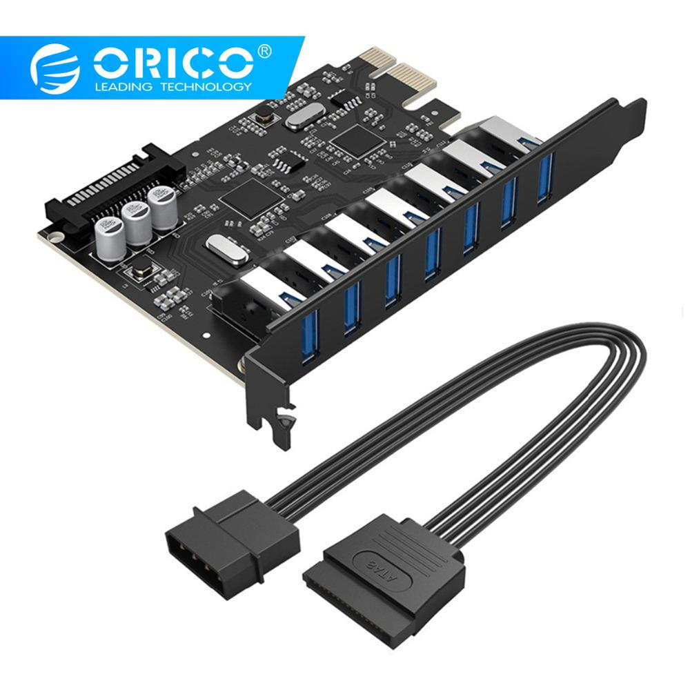 ORICO 7 Ports USB3.0 Express Card Expansion Card By PCI-Express Adapter Support  Windows 10 / 8 / 7 / Vista / XP- (PVU3-7U-V1)